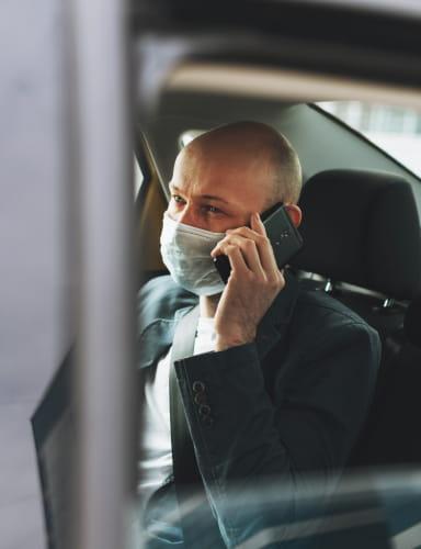 Passager dans taxi conventionne 77 pour transport de malade assis avec prise en charge CPAM